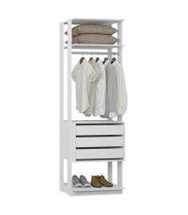closet estante 3 gavetas 1 cabideiro branco lilies móveis