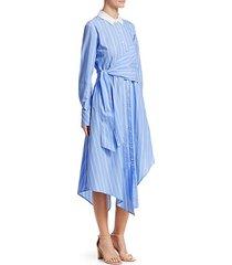 asymmetric oxford wrap dress