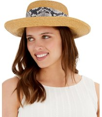 nine west floppy hat with snake-embossed scarf