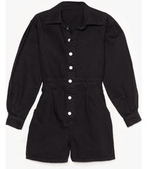 womens nothing but-ton love denim balloon sleeve romper - black