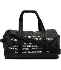 diesel slogan printed weekend bag - black
