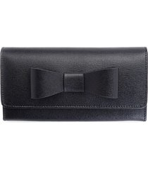 royce leather women's rfid blocking saffiano leather bow wallet - black