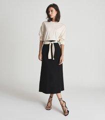 reiss lyla - jersey midi skirt with tie detail in black, womens, size 14