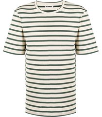 jil sander horizontal-stripe crew neck t-shirt - neutrals