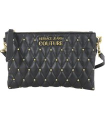 versace jeans couture quilted nappa pu shoulder bag