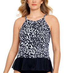 swim solutions pleated high-neck tankini top, created for macy's women's swimsuit