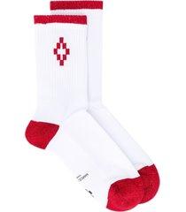 marcelo burlon county of milan cross short socks - white