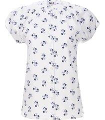 blusa flores azul y gris color blanco, talla 10