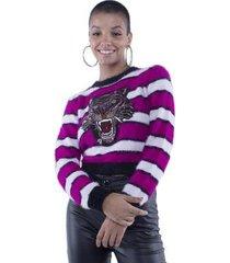 blusa pop me tricô listrada com patch feminina