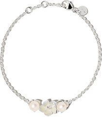 shaun leane silver cherry blossom single diamond and pearl bracelet -