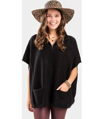 maya quarter zip poncho - black