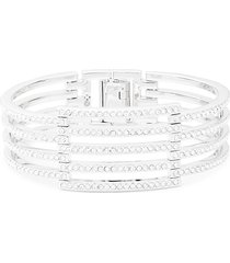 adriana orsini women's rhodium-plated & cubic zirconia four-row cuff bracelet