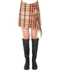 msgm mini wallet skirt with fringes