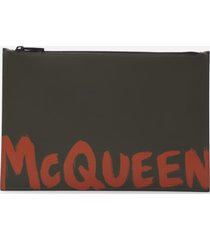 alexander mcqueen leather clutch bag with contrasting logo print