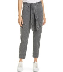 women's nsf clothing sash belt cotton cargo pants, size 24 - grey