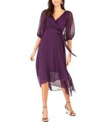 ny collection petite crinkle chiffon faux-wrap dress