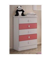 cômoda 5 gavetas branco e rosa percasa móveis