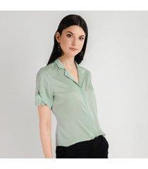 blusa para mujer en chiffon crepe cyan