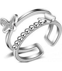 anillo mariposa 2 bandas casual plateado arany joyas