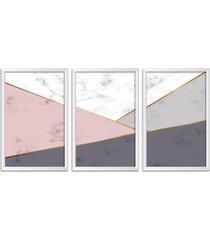 conjunto kit 3 quadro oppen house s 60x120cm escandinavo odense com vidro e moldura branca      quadro oppen house s decorativos - branco - dafiti