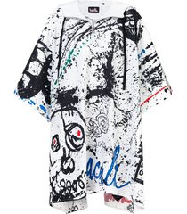 haculla abstract-print oversized hooded poncho - white