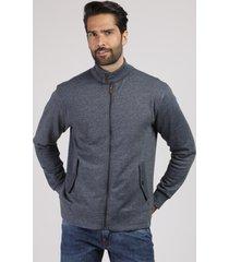 jaqueta masculina em moletom com bolsos gola alta cinza mescla escuro