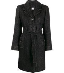 chanel pre-owned 2010 belted tweed coat - black