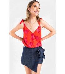 tanya floral surplice bodysuit - red