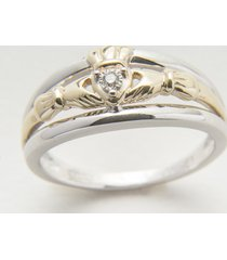 10k gold & silver diamond claddagh engagement ring size 5