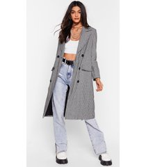 womens lost and houndstooth double breasted longline coat - black