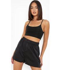 satijnen boxer shorts met knoop detail, black
