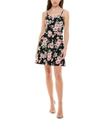 almost famous juniors' floral-print sleeveless skater dress