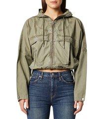 women's hudson jeans sport hoodie jacket, size small - green