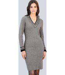 gebreide jurk alba moda grijs::zwart