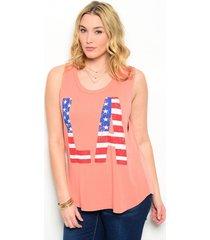 women knit top coral plus size 1x 2x 3x scoop neck libian deep cut sleeveless