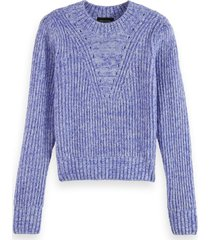 scotch & soda 163820 0596 loose fit crewneck pullover with puff sleeves combo q