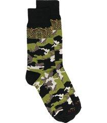 etro camouflage print socks - black