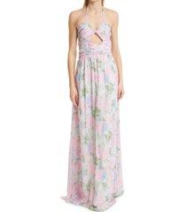 women's loveshackfancy donovan floral gown, size 6 - pink