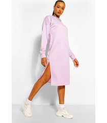 midi sweatshirt jurk met split, lila