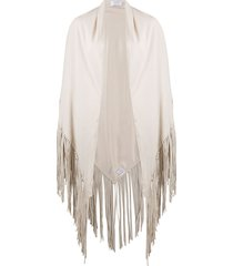 snobby sheep fringed cape scarf - neutrals