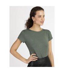 blusa feminina básica com botões manga curta decote redondo verde