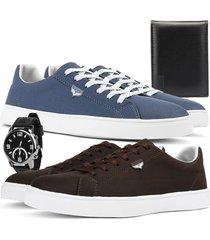 kit 2 pares de sapatãªnis skateboard sapatofran casual azul e cafã© com relã³gio e carteira - azul marinho - masculino - lona - dafiti