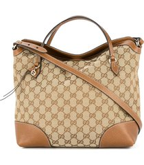gucci pre-owned gucci gg pattern 2way hand tote bag - brown
