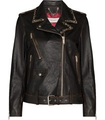 golden goose stud-embellished leather biker jacket - black