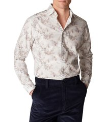 men's eton slim fit crane print shirt, size 17.5 - white