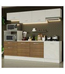 cozinha completa madesa onix 240003 com armario e balcão branco/rustic 099b branco/branco/rustic