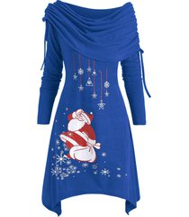 christmas santa claus foldover off shoulder asymmetrical dress
