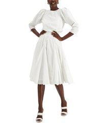 inc smocked cotton midi dress, created for macy's