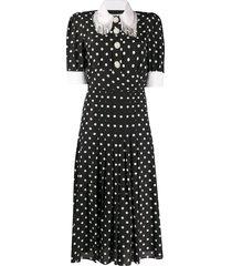 alessandra rich polka-dot fringe collar dress - black