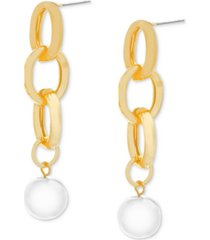 steve madden gold-tone chain link & imitation pearl linear drop earrings